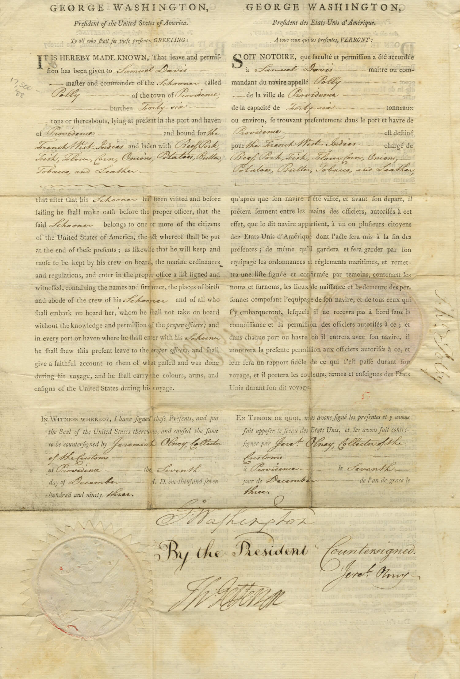 George Washington And Thomas Jefferson Signed Document: Trilingual Ships Papers