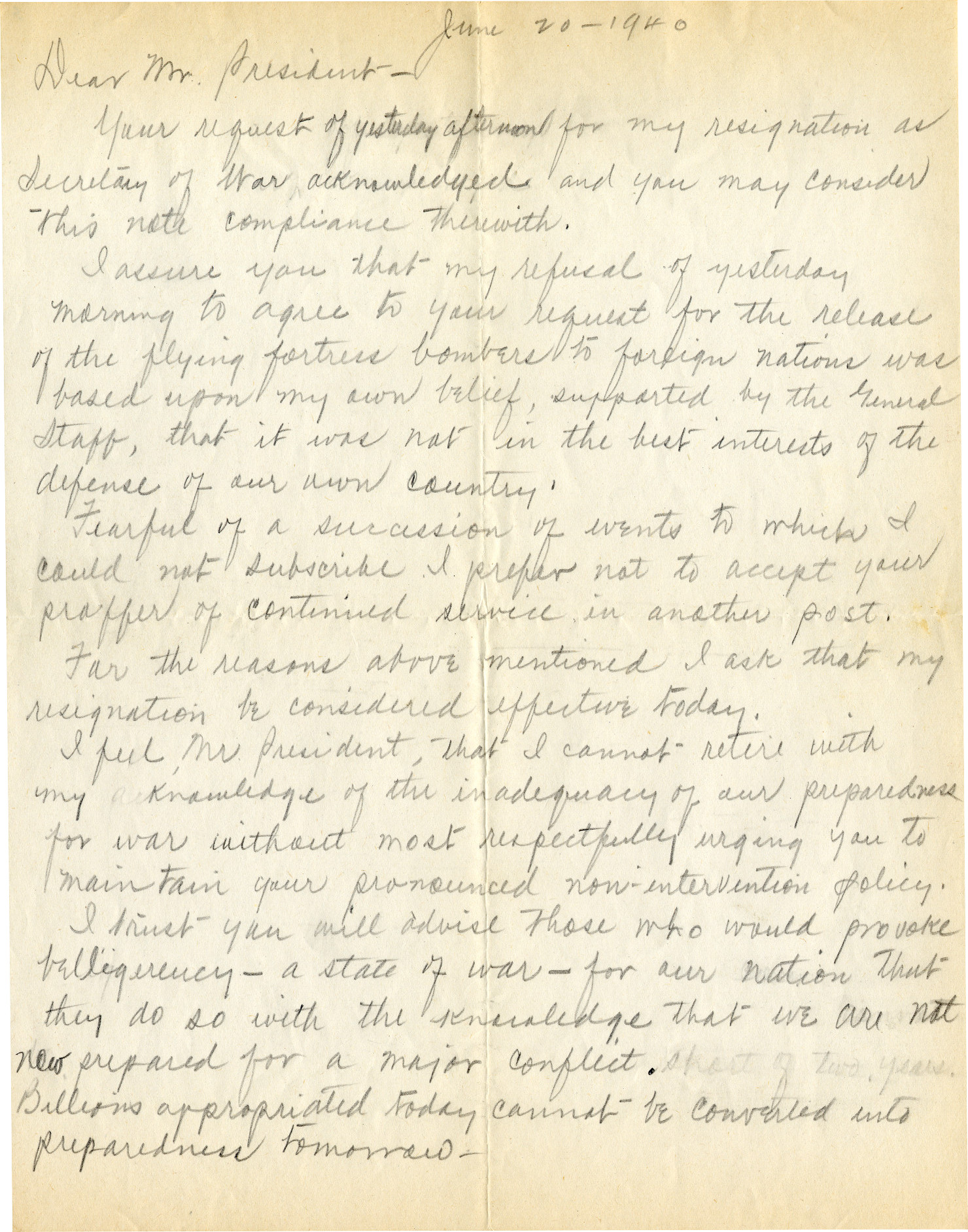 Secretary of War Woodring's Handwritten Draft of His Controversial Resignation Letter to FDR