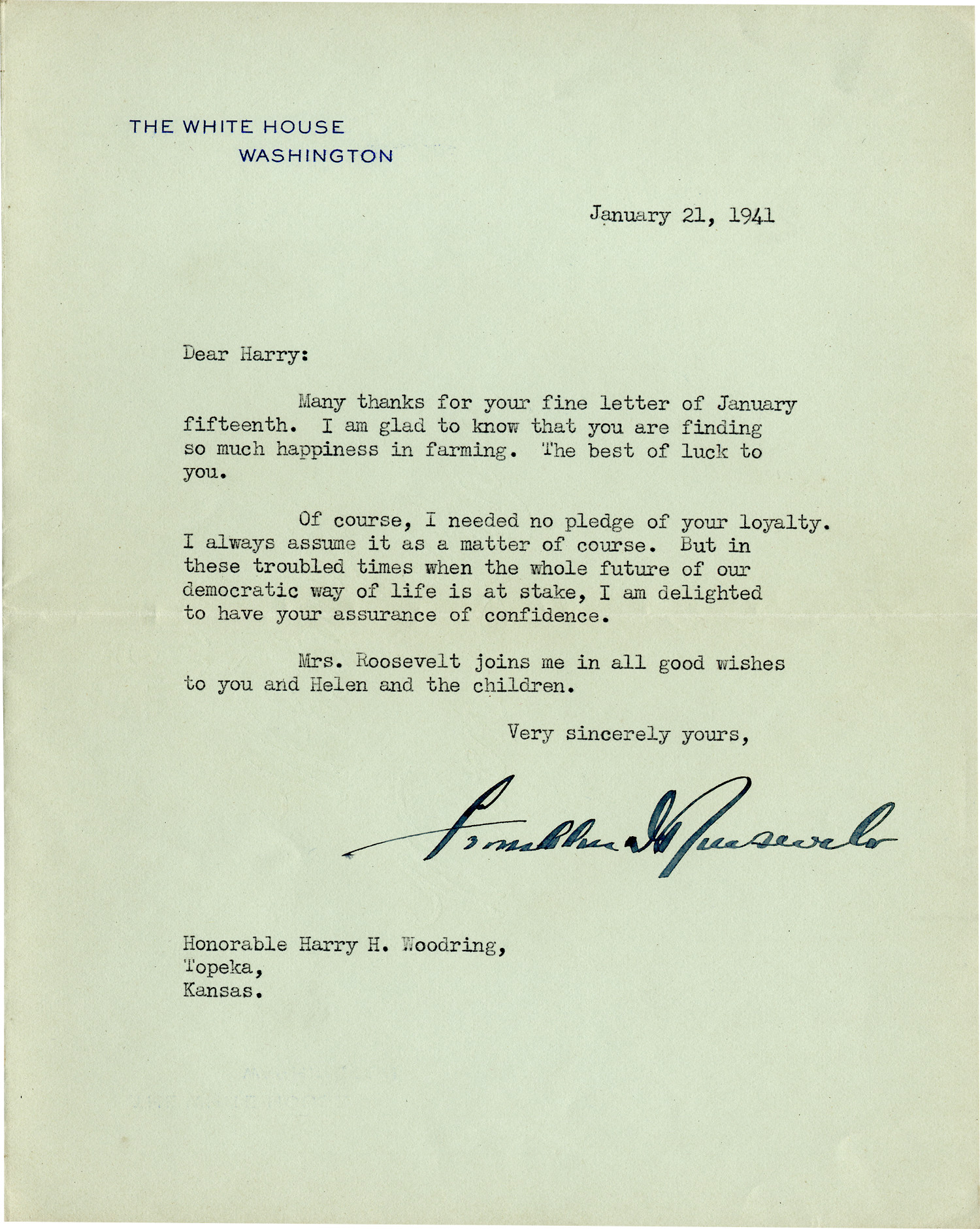 """Third Term President Roosevelt Writes to Harry Woodring: """"Our Democratic Way Of Life Is At Stake"""""""