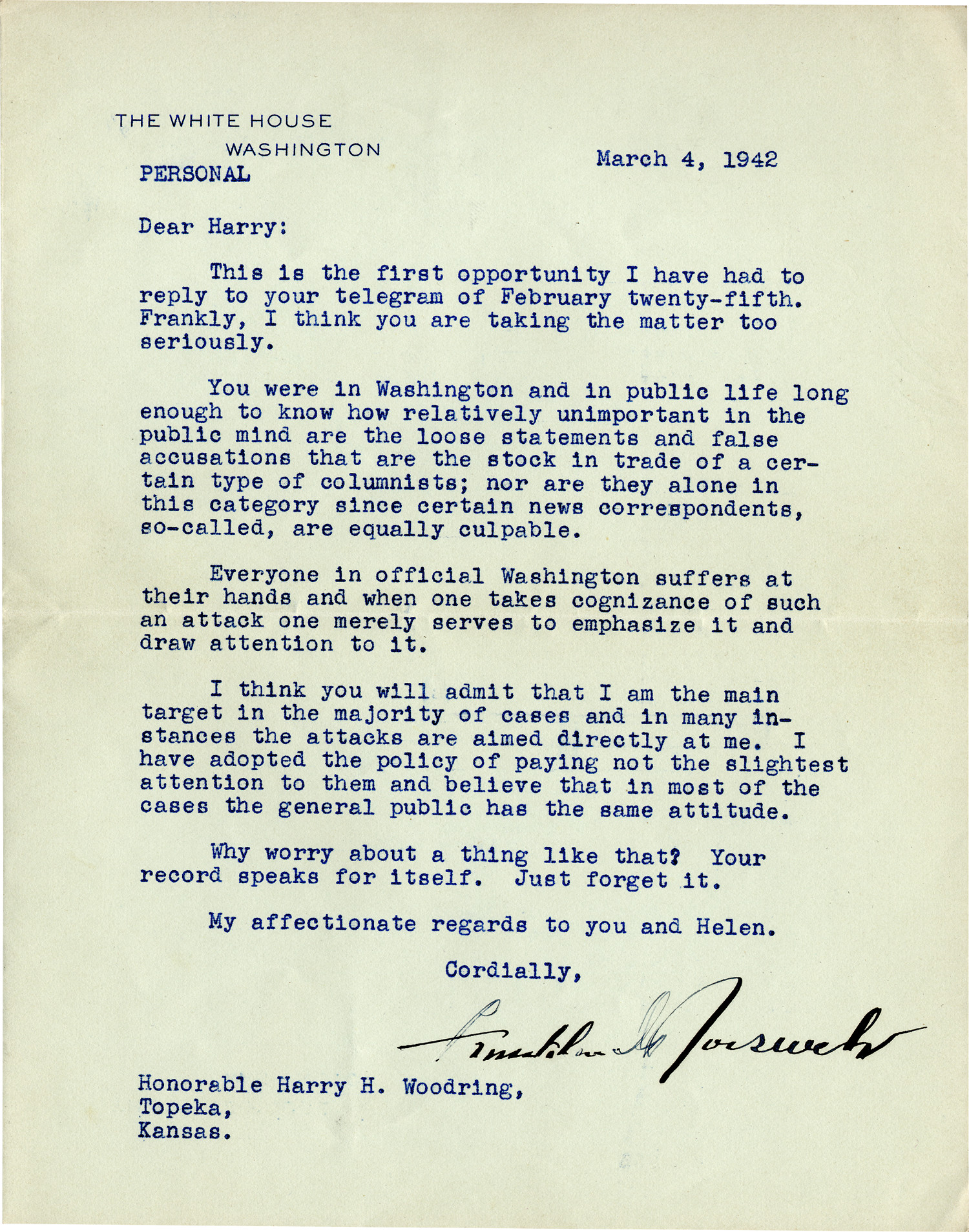Roosevelt Advises Scapegoated Woodring On How To Handle Negative Press Following Pearl Harbor