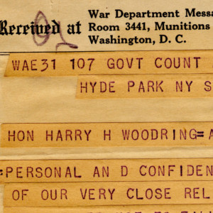 President Roosevelt's Telegram Informing Harry Woodring Of His Temporary Appointment As Secretary Of War