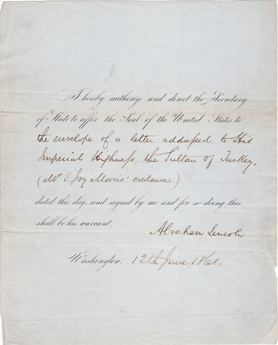 Abraham Lincoln Appoints the Arabist Edward Joy Morris as Minister Resident to Turkey