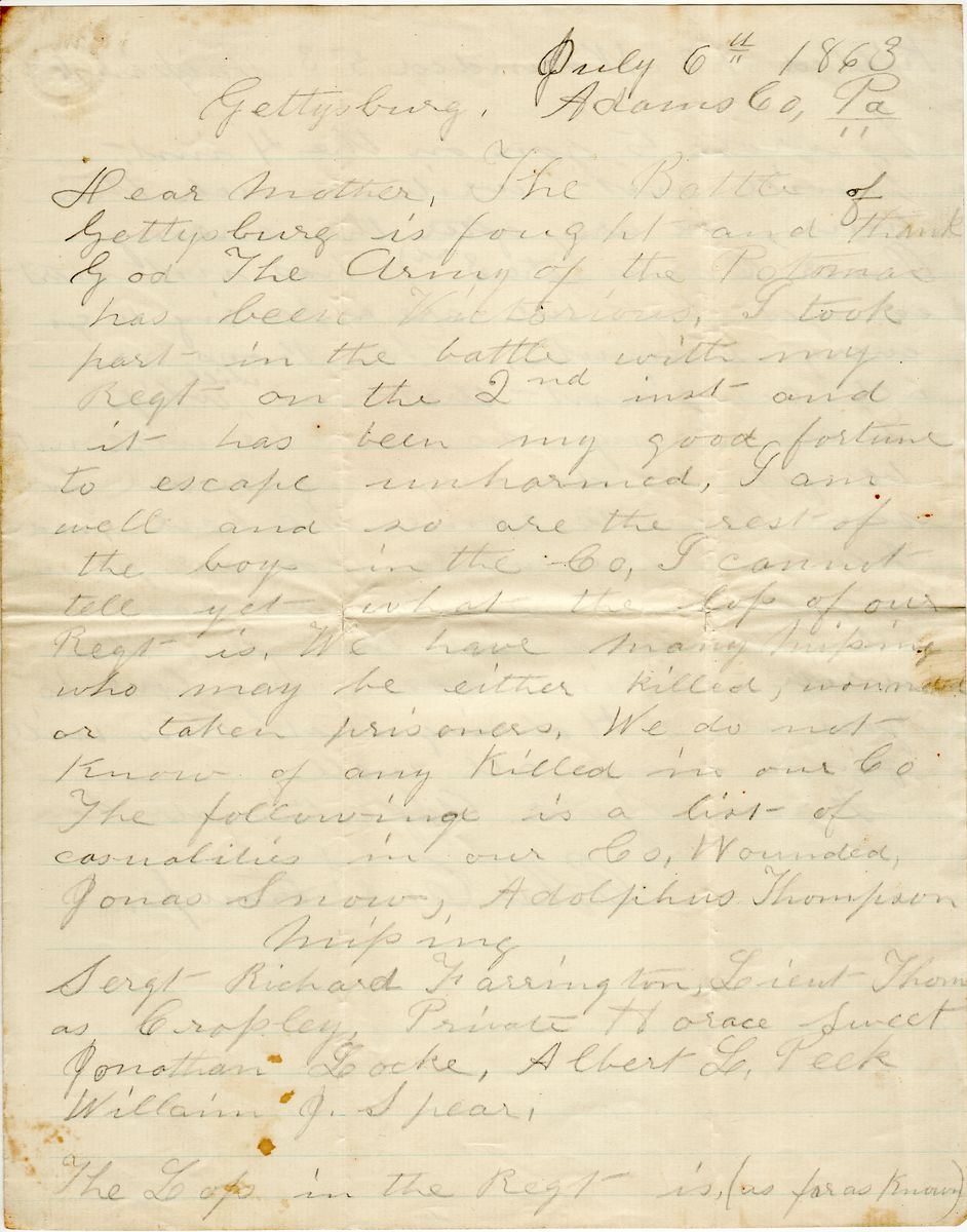 "Union Soldier After Gettysburg: ""We Will Whip Lee's Army So That He Will Not be Fit to Do Anything More"""