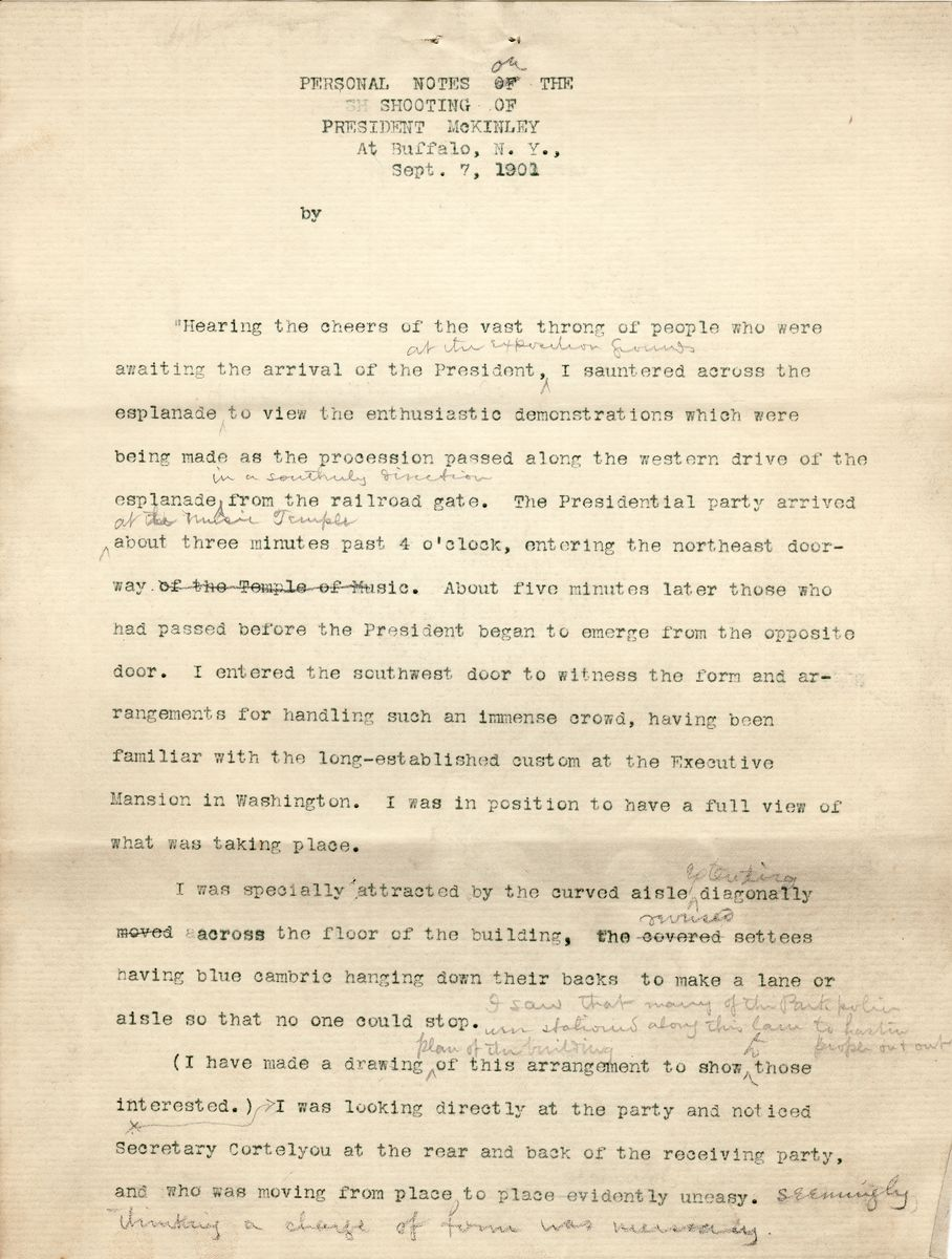 Extraordinary Eyewitness Account of the Assassination of President McKinley-Dated One Day After