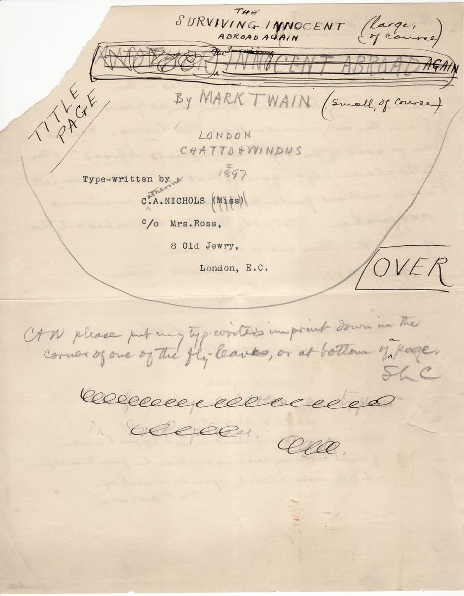 "Mark Twain's Mockup of Title Page and Dedication of ""More Tramps Abroad,""Note About ""Innocents Abroad"""