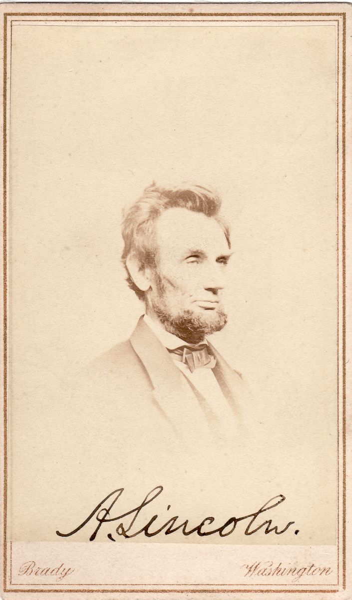 "Abraham Lincoln Carte-de-Visite Photo By Mathew Brady of Which Lincoln Said ""I Look Most Like That One"""