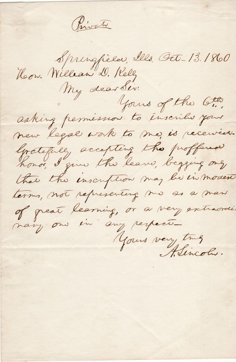 """Abraham Lincoln Declares He is Not a """"Man of Great Learning, or a Very Extraordinary one in Any Respect"""""""
