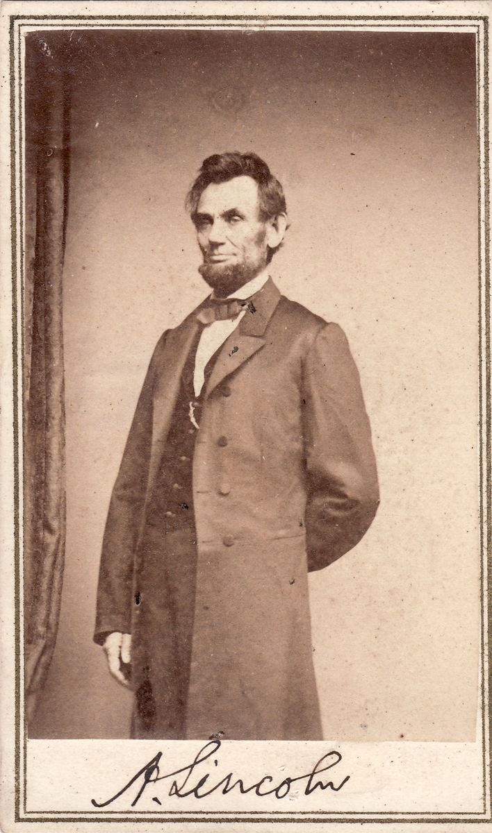 "Abraham Lincoln Signed Photo: The ""Solitary Pine Pose,"" From the January 8, 1864 Sitting"