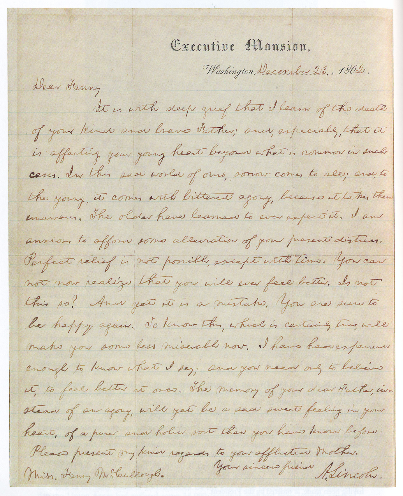 Abraham Lincoln's Famous Civil War Condolence Letter to Young Fanny McCullough About Loss and Memory