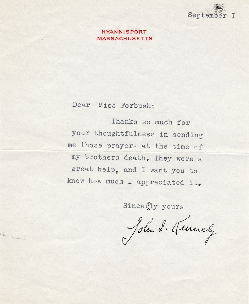 Early John F. Kennedy Letter About the Death of His Brother Joe, Which Would Propel Him Into Politics