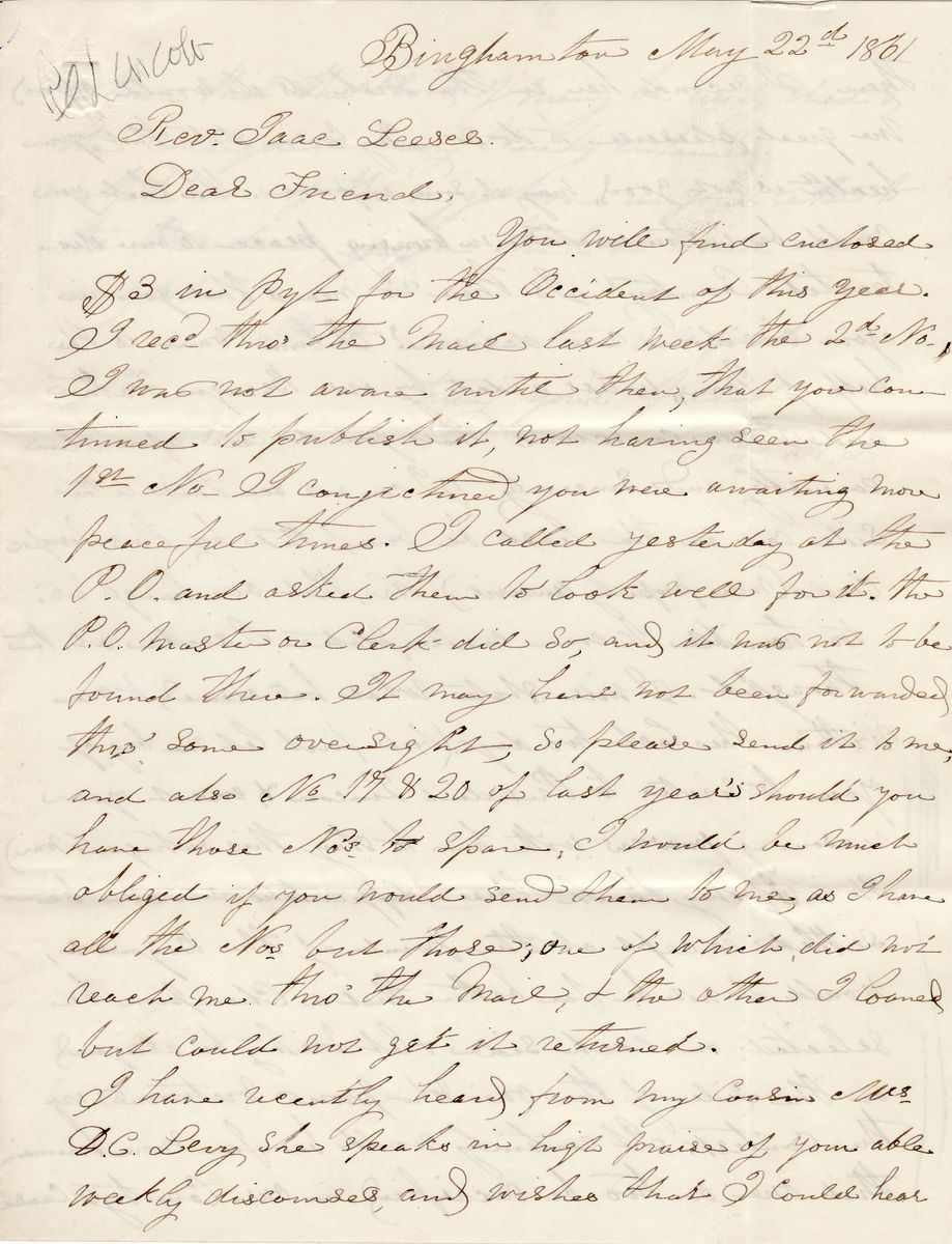 """""""Occident"""" Subscriber Begs Rabbi Leeser to Write Abraham Lincoln and Convince Him to Stop the Civil War"""