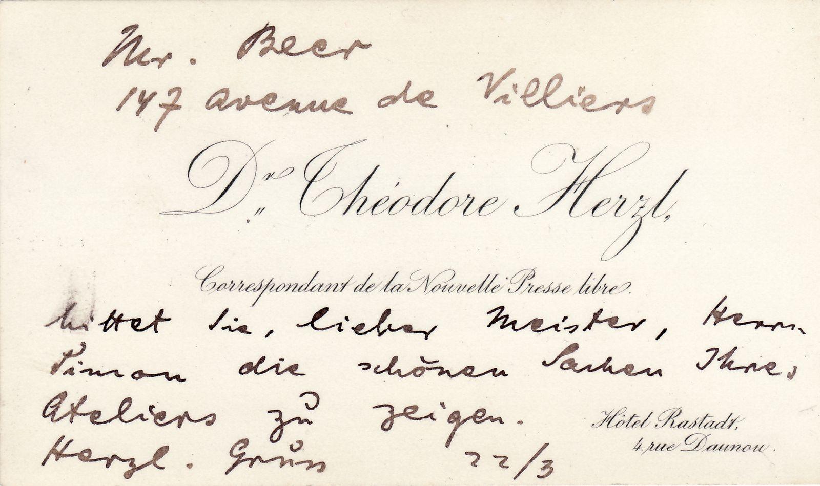 """Theodor Herzl Asks Jewish Sculptor Samuel Friedrich Beer to Show """"Mr. Simon"""" His Work"""