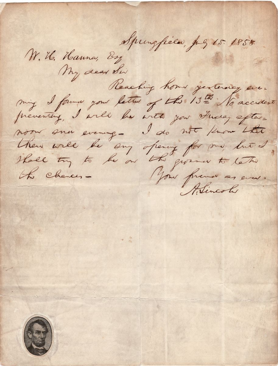 Abraham Lincoln, in a Prelude to the Lincoln-Douglas Debates, Agrees to Follow Douglas to Bloomington