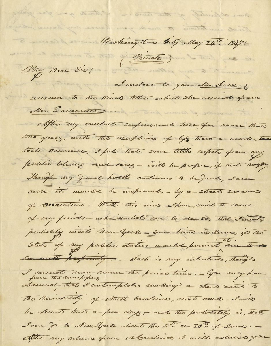 Confined for Two Years to the White House, President James K. Polk Tries to Plan an Out of Town Visit