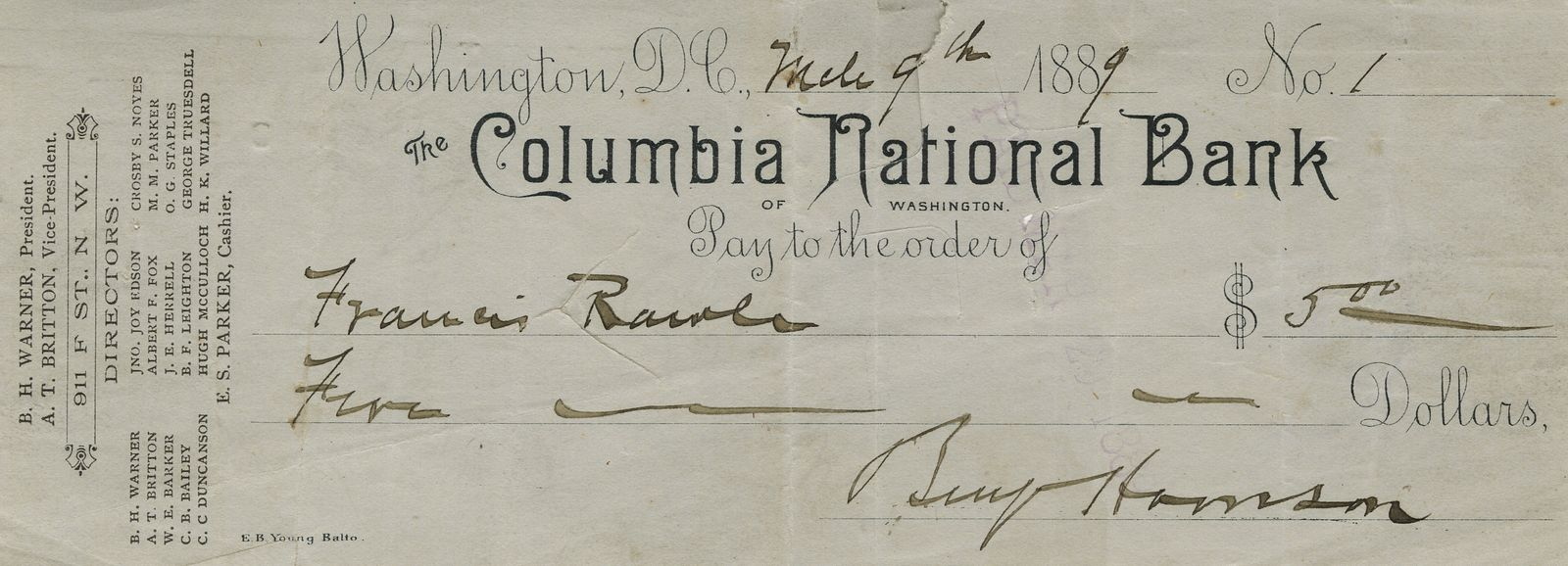 One of Benjamin Harrison's First Personal Checks as President