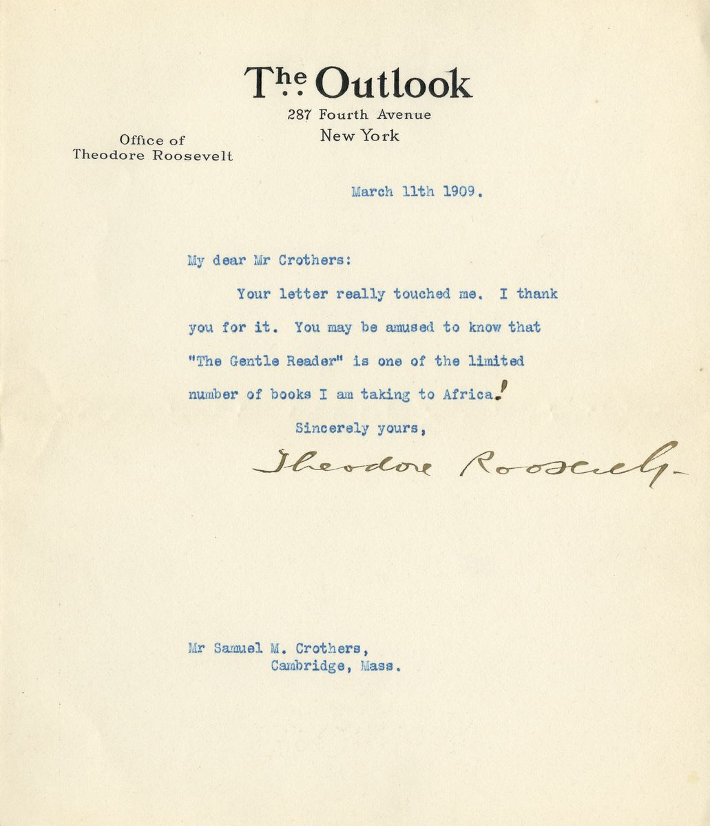 Former President Theodore Roosevelt Writes About Taking Books on His Upcoming Safari to Africa
