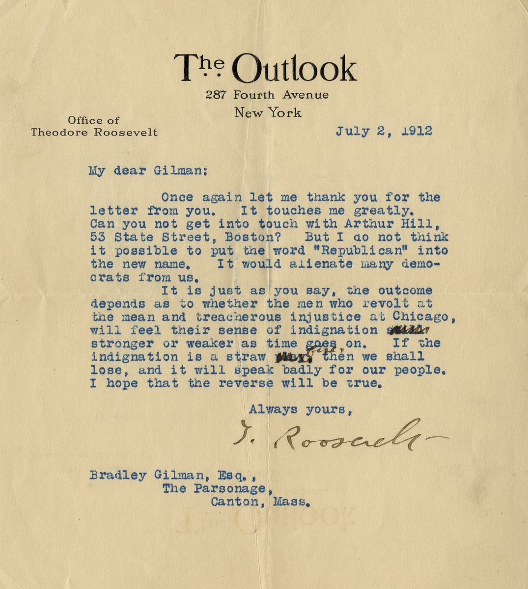 "Theodore Roosevelt on the ""Treacherous Injustice at Chicago"" and His New Bull Moose Party"