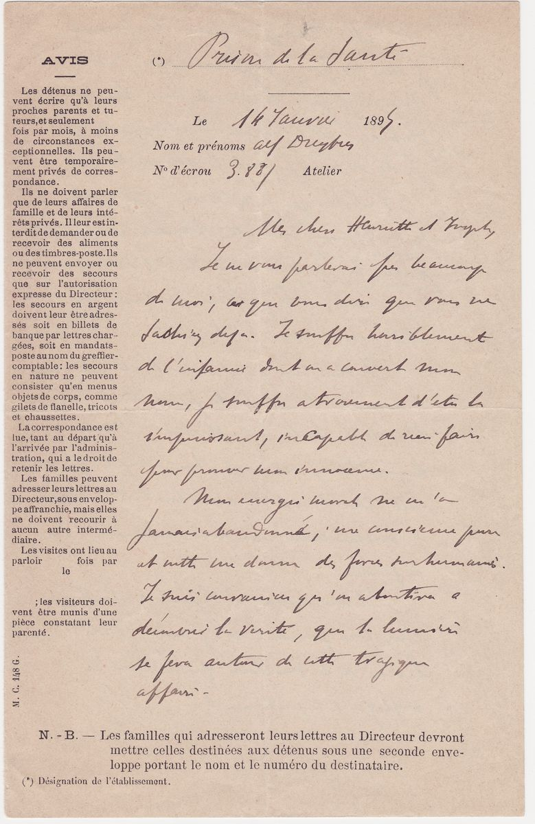 From Prison, a Defiant Alfred Dreyfus Writes to his Family Swearing to Clear His Name