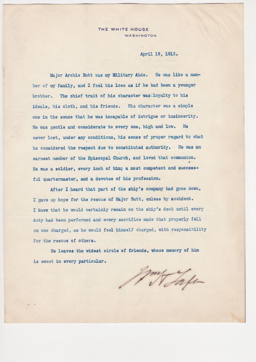 Major Archibald Butt, Military Aide to Roosevelt and Taft, Writes the Day Before Boarding the Titanic