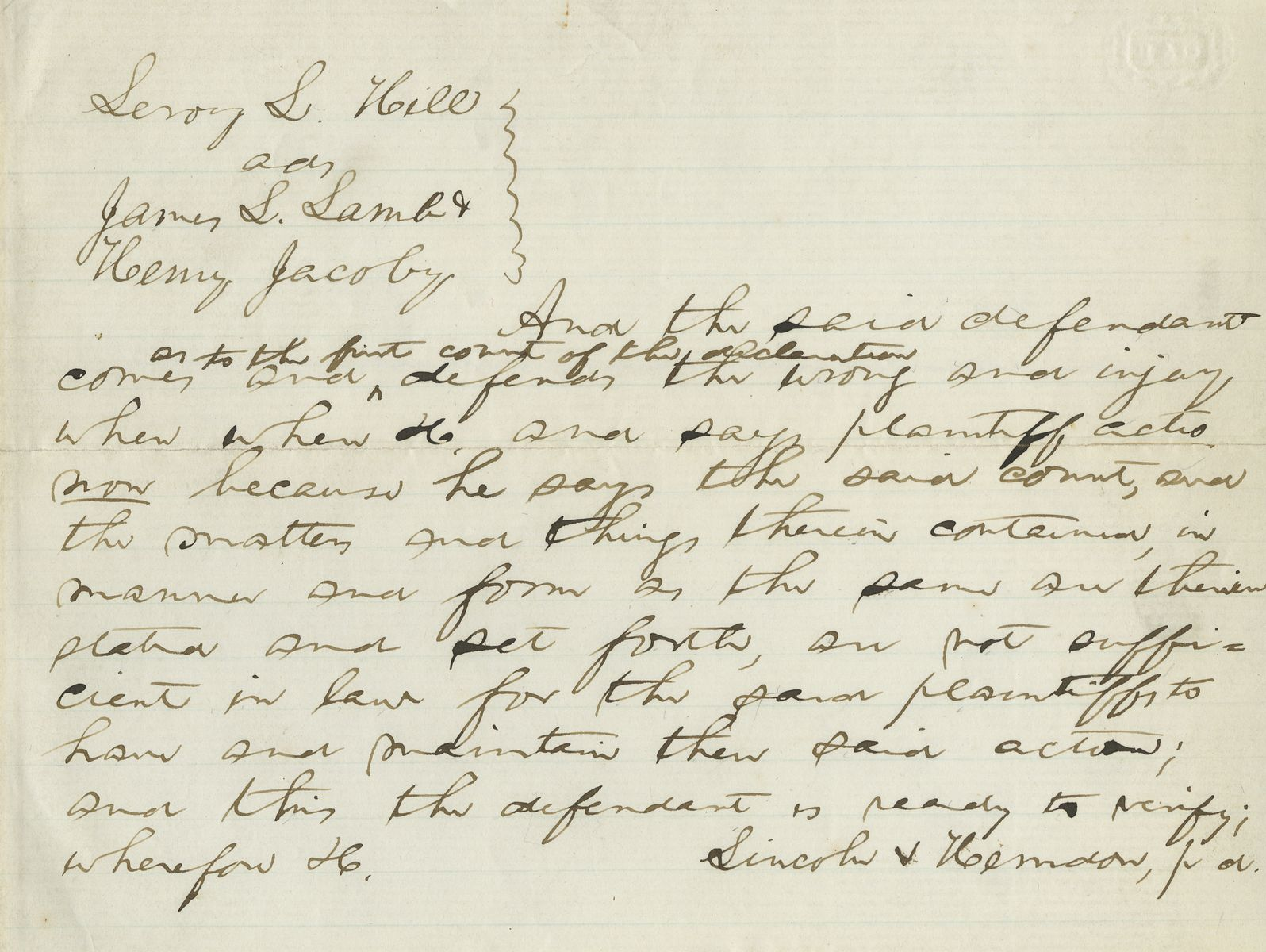 """Rare Abraham Lincoln Letter to His Dear Friend Abraham Jonas - He is """"Hobbled"""" by a Troublesome Nephew"""