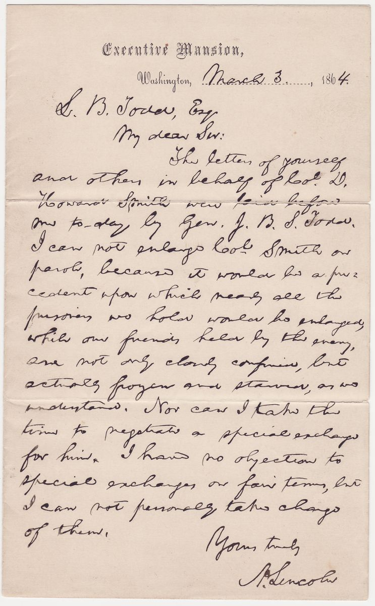 "In Refusing a Parole, Lincoln Notes That Federal Prisoners Are Being ""Frozen and Starved"" in Libby Prison"