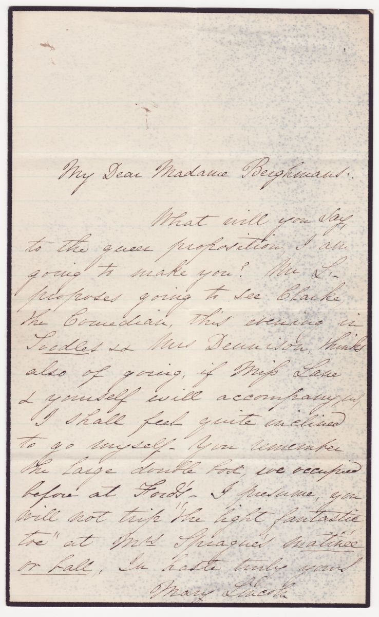 Mary Todd Lincoln Issues 1865 Invitation to Presidential Box At Ford's Theatre