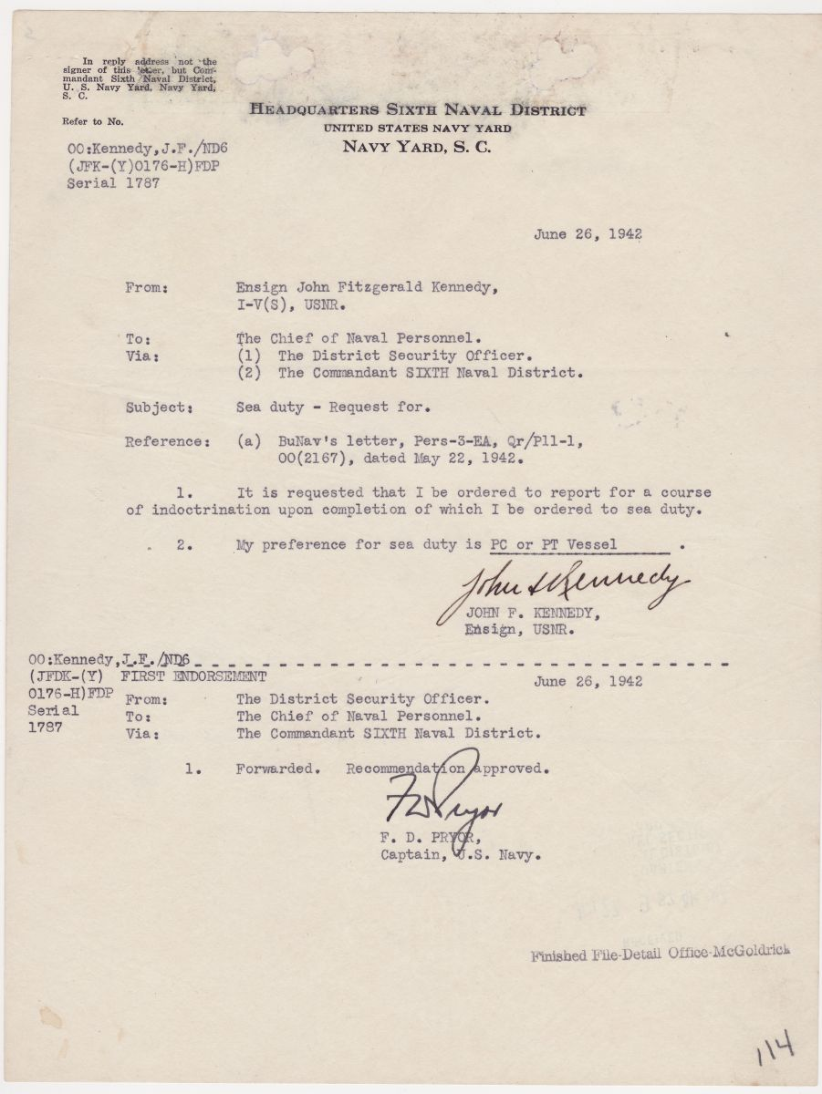 "In 1942, Ensign J.F. Kennedy Requests Sea Duty on a PT Vessel: ""Recommendation Approved"""