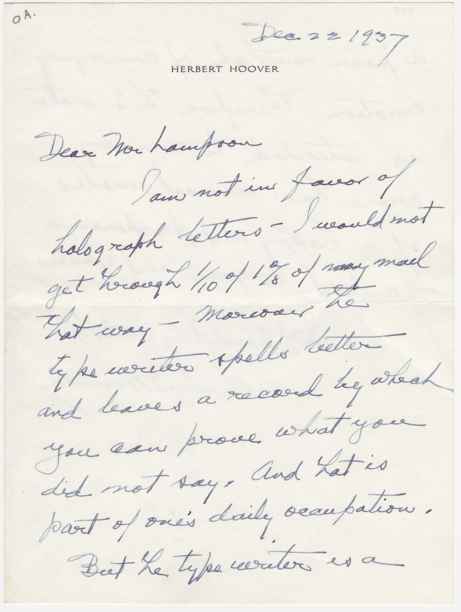 Herbert Hoover Explains, In Autograph, His Antipathy to Writing Holograph Letters