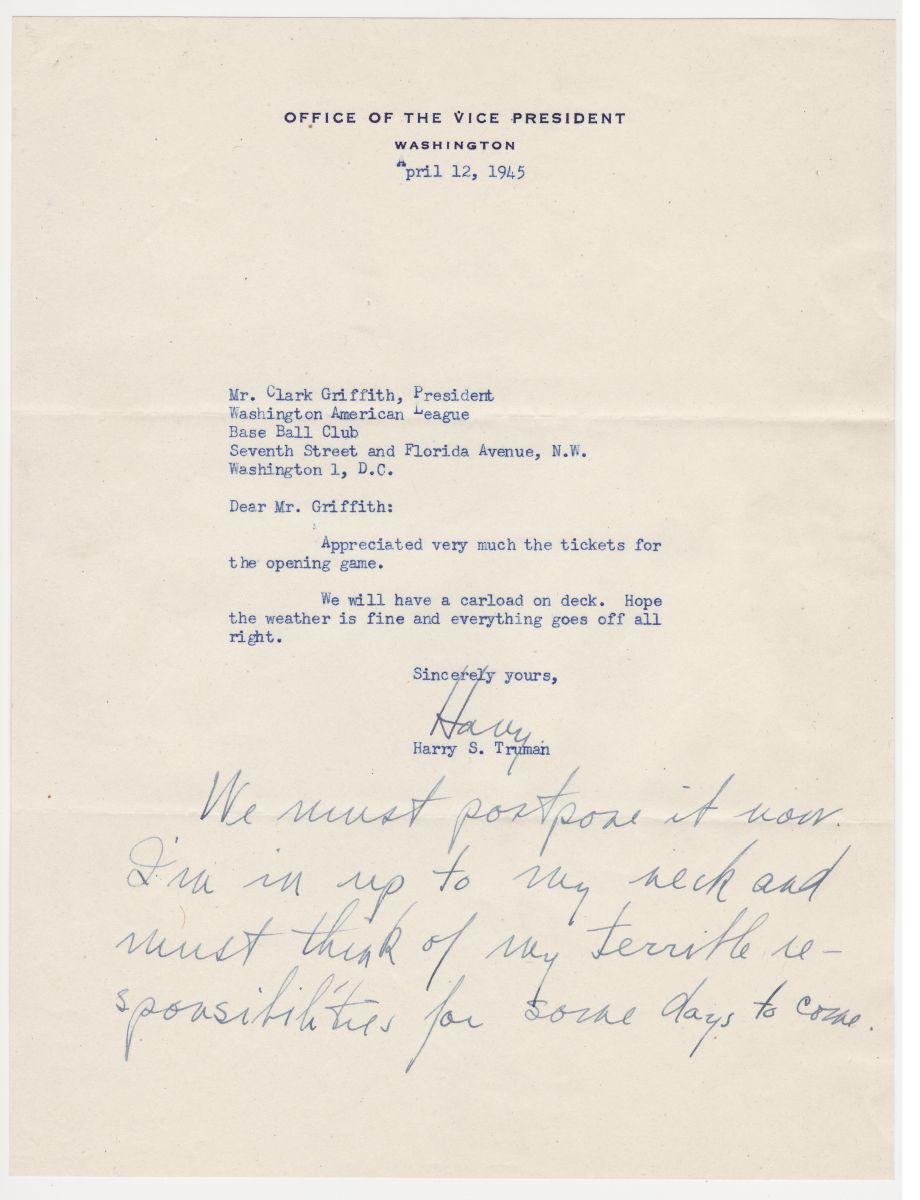 "Harry Truman Letter Written as Vice-President But Signed as President with ""Terrible Responsibilities"""