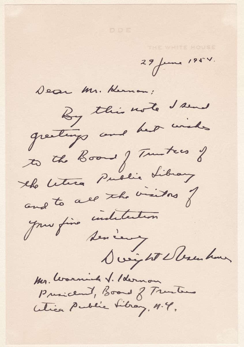 Rare Eisenhower Autograph as President, Praising the Utica Public Library