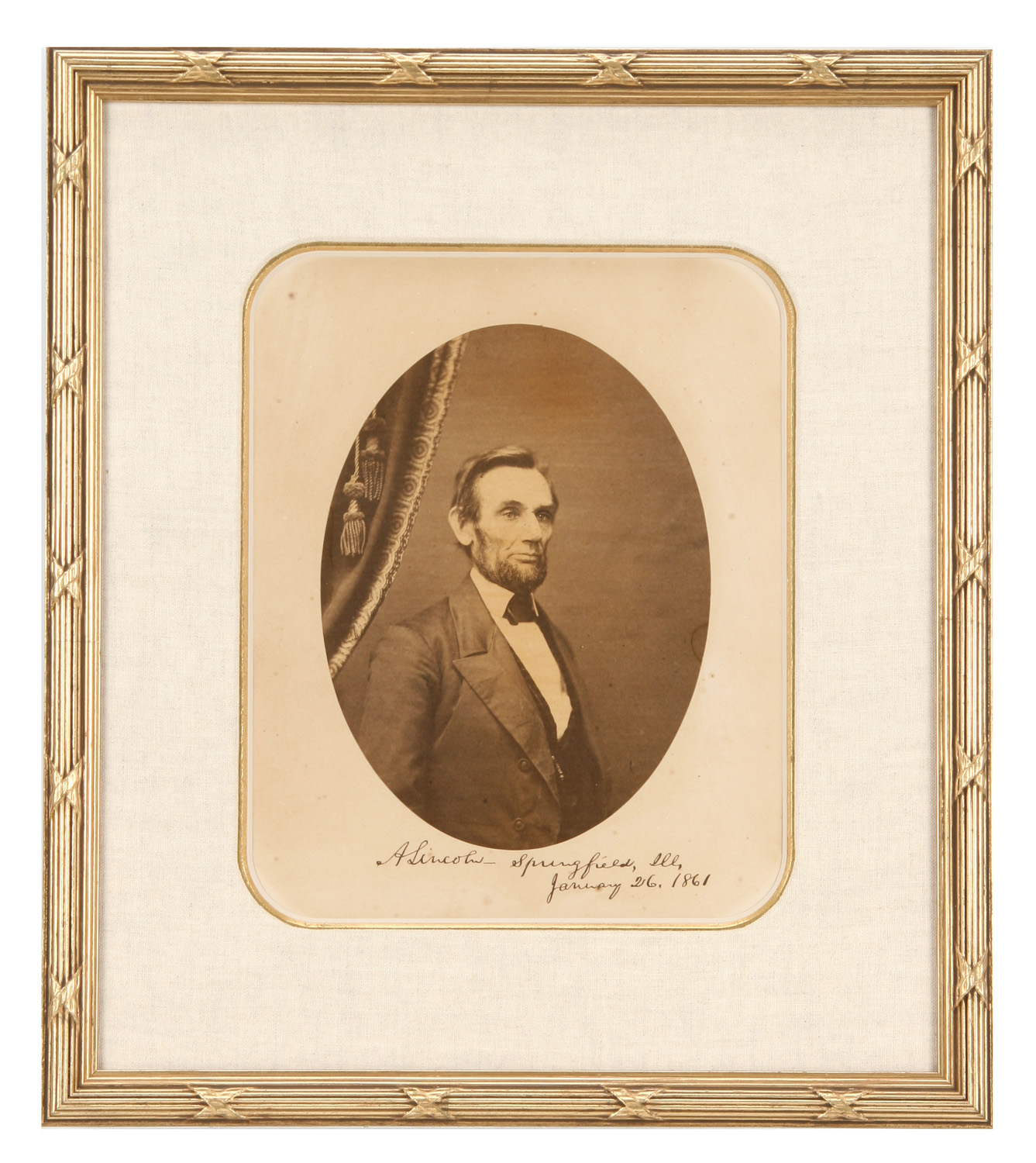 """Roderick Cole's 1858 Beardless Photo of Abraham Lincoln--Signed """"Yours Truly, A. Lincoln"""""""