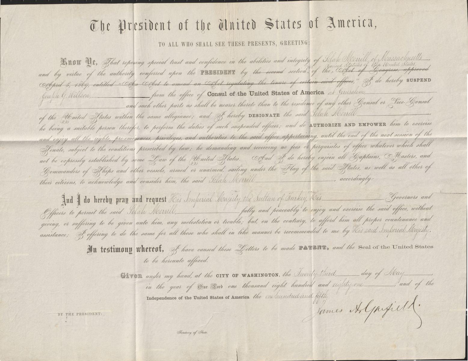 James A. Garfield's Appointment of the Anti-Semitic Selah Merrill as Consul at Jerusalem