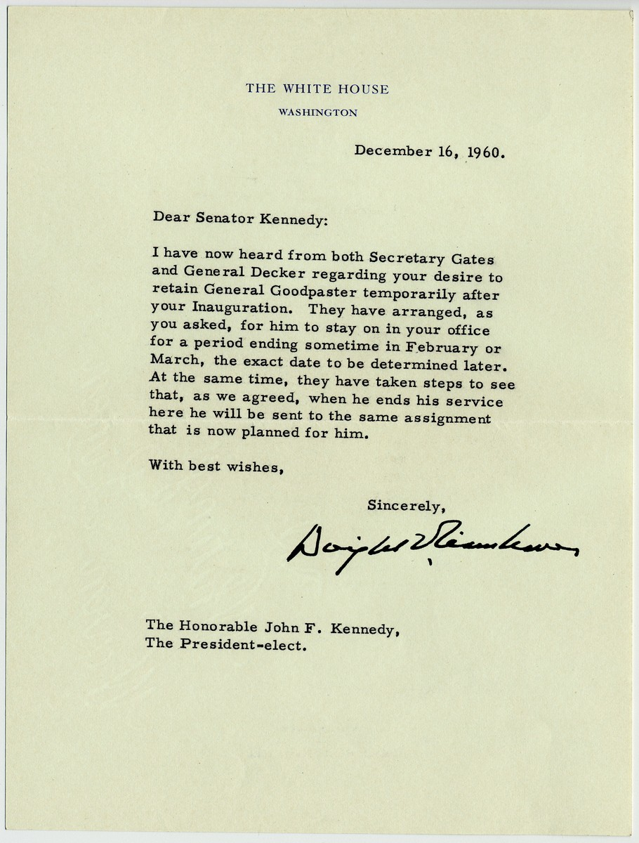 Eisenhower & Kennedy:  Eisenhower Writes JFK a Chilly Letter After Losing the 1960 Election