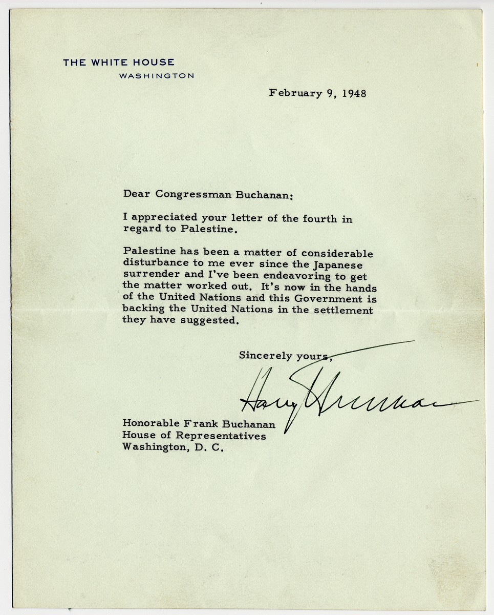 "Harry Truman Declares ""in Spite of Palestine,"" he had a ""Grand Birthday"""