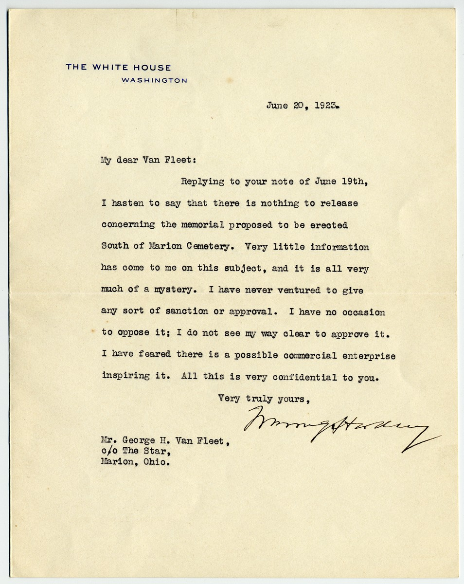 President Warren G. Harding: Possibly the Last Letter He Wrote from the White House