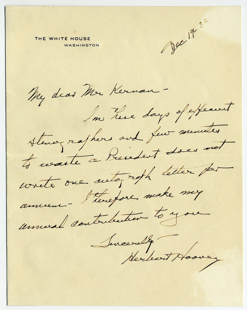 """Herbert Hoover Describes Himself """"Once of Washington D.C. Now Fortunately Elsewhere"""""""