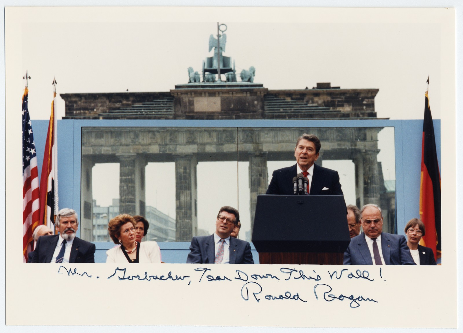 """A Ronald Reagan Photo in Front of the Berlin Wall, Inscribed With """"Mr. Gorbachev, Tear Down This Wall!"""""""