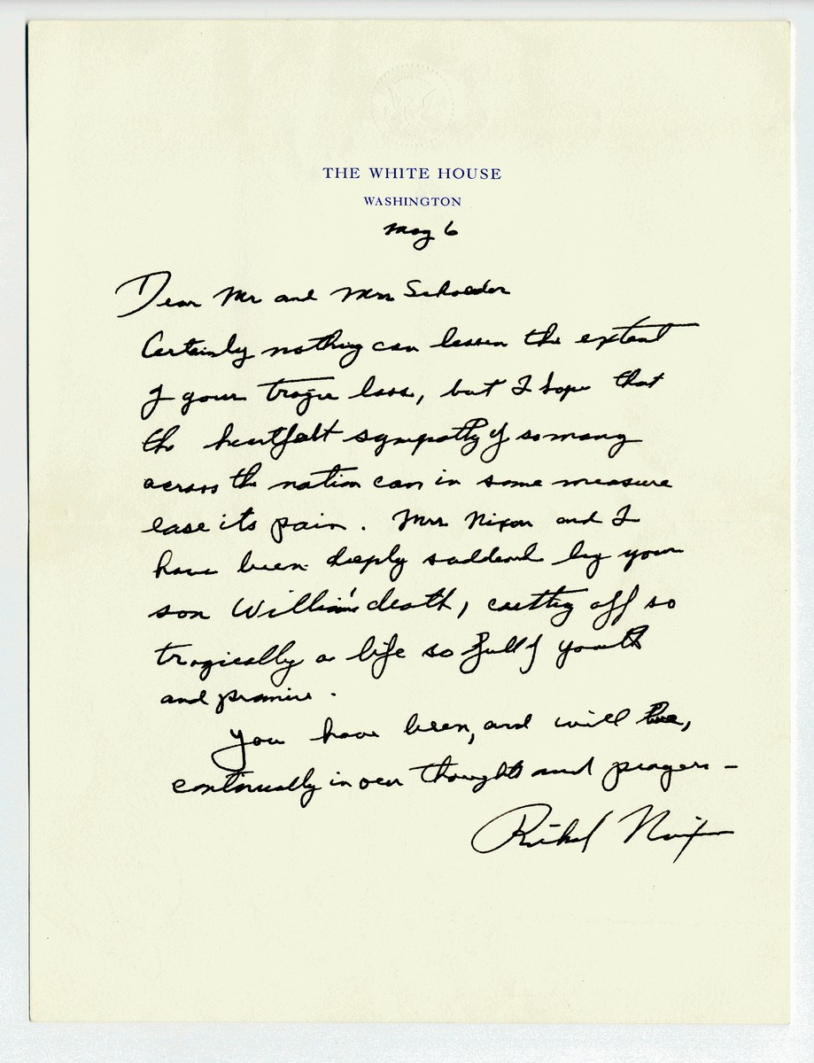 Rare Letter to Bereaved: President Nixon's Response to the Kent State Shooting