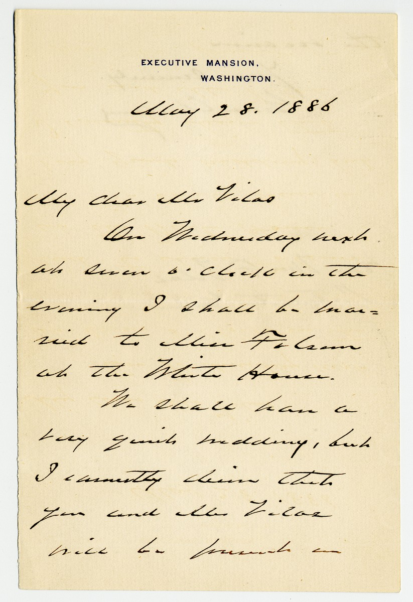 Grover Cleveland, the Only President to Be Married in the White House, Writes His Bride About Wedding