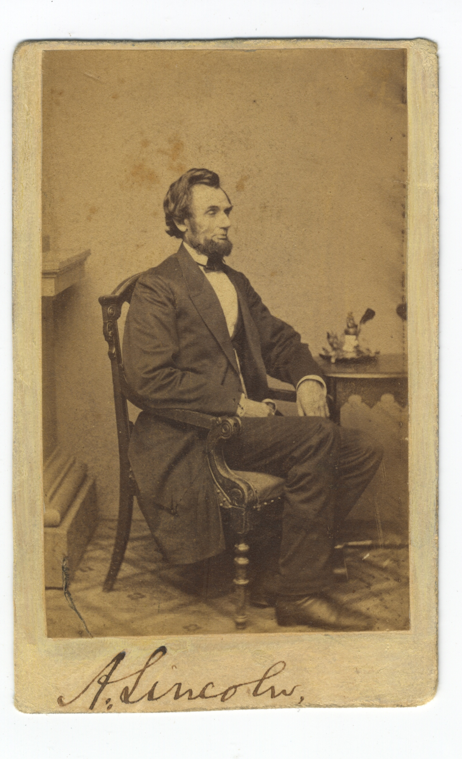Abraham Lincoln Signed Photo from First Washington Sitting, With John Hay Note of Authentication
