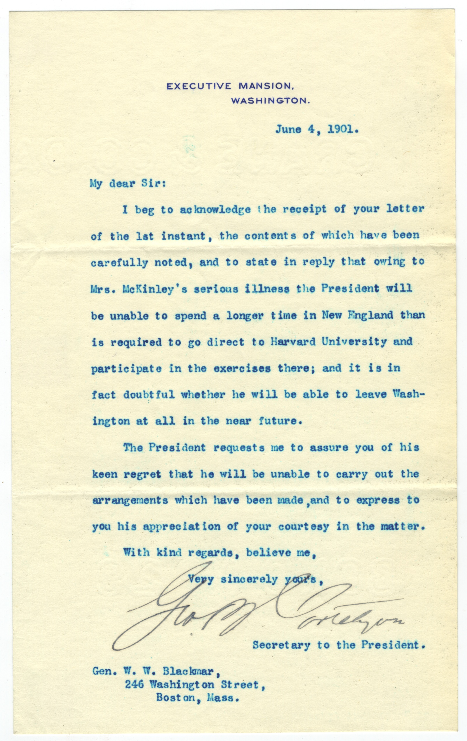 """President McKinley's Secretary Cancels McKinley's Engagements """"Owing to Mrs. McKinley's Serious Illness"""""""