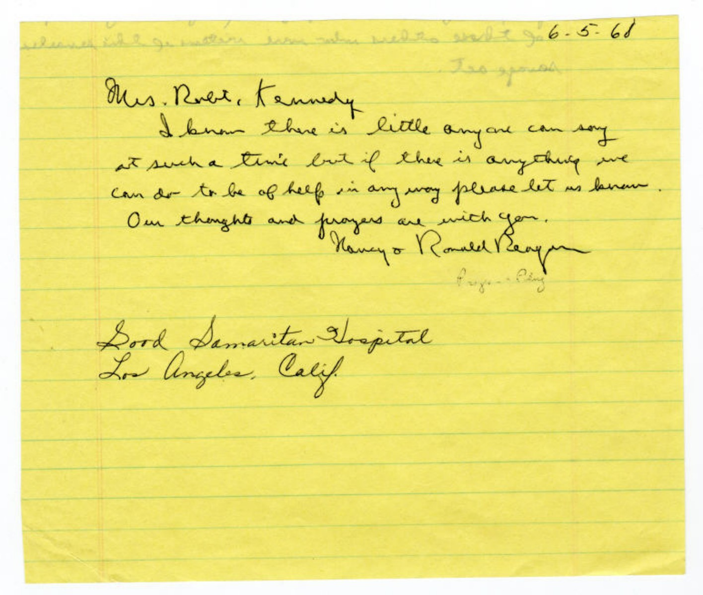 Ronald Reagan Offers Ethel Kennedy His Help as Robert F. Kennedy, Shot in Los Angeles, Lay Dying