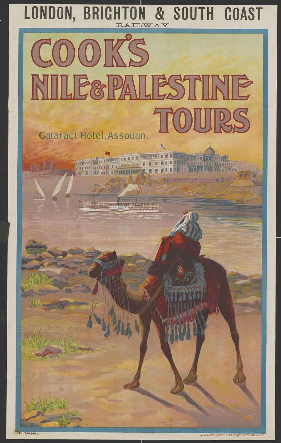 Rare Travel Poster: Cook's Nile and Palestine Tours