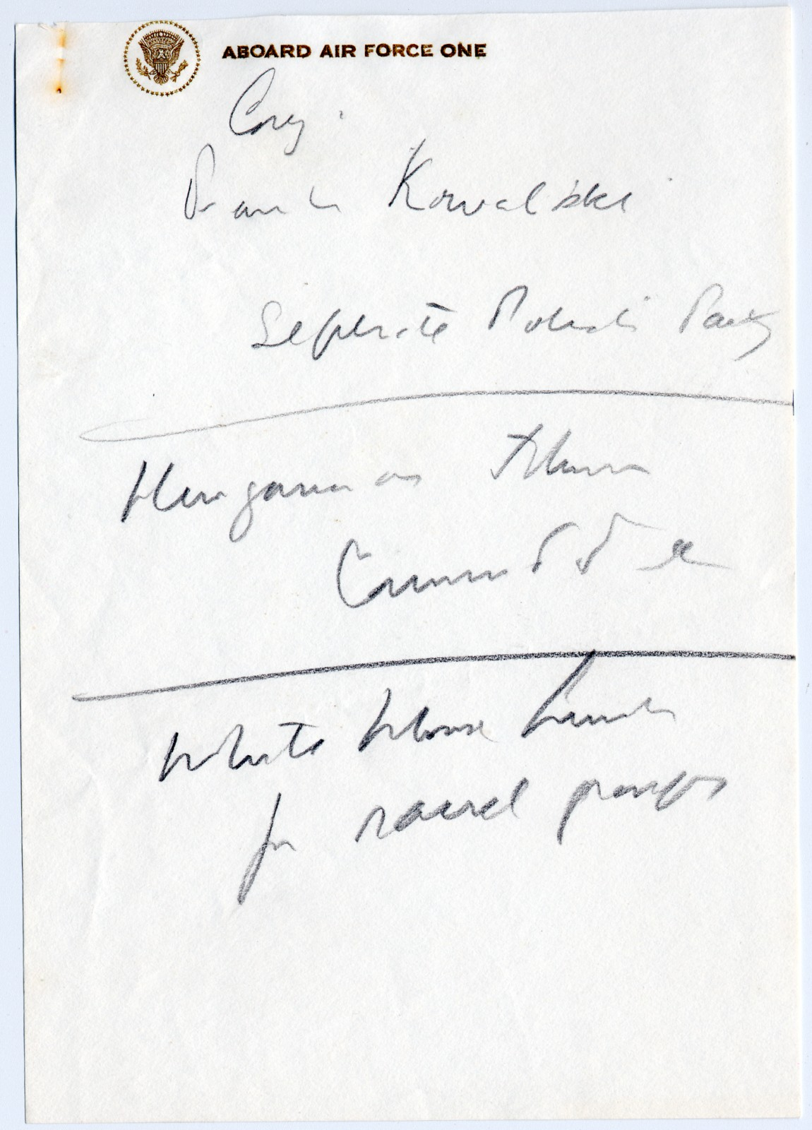 Notes Written by President John F. Kennedy Aboard Air Force One