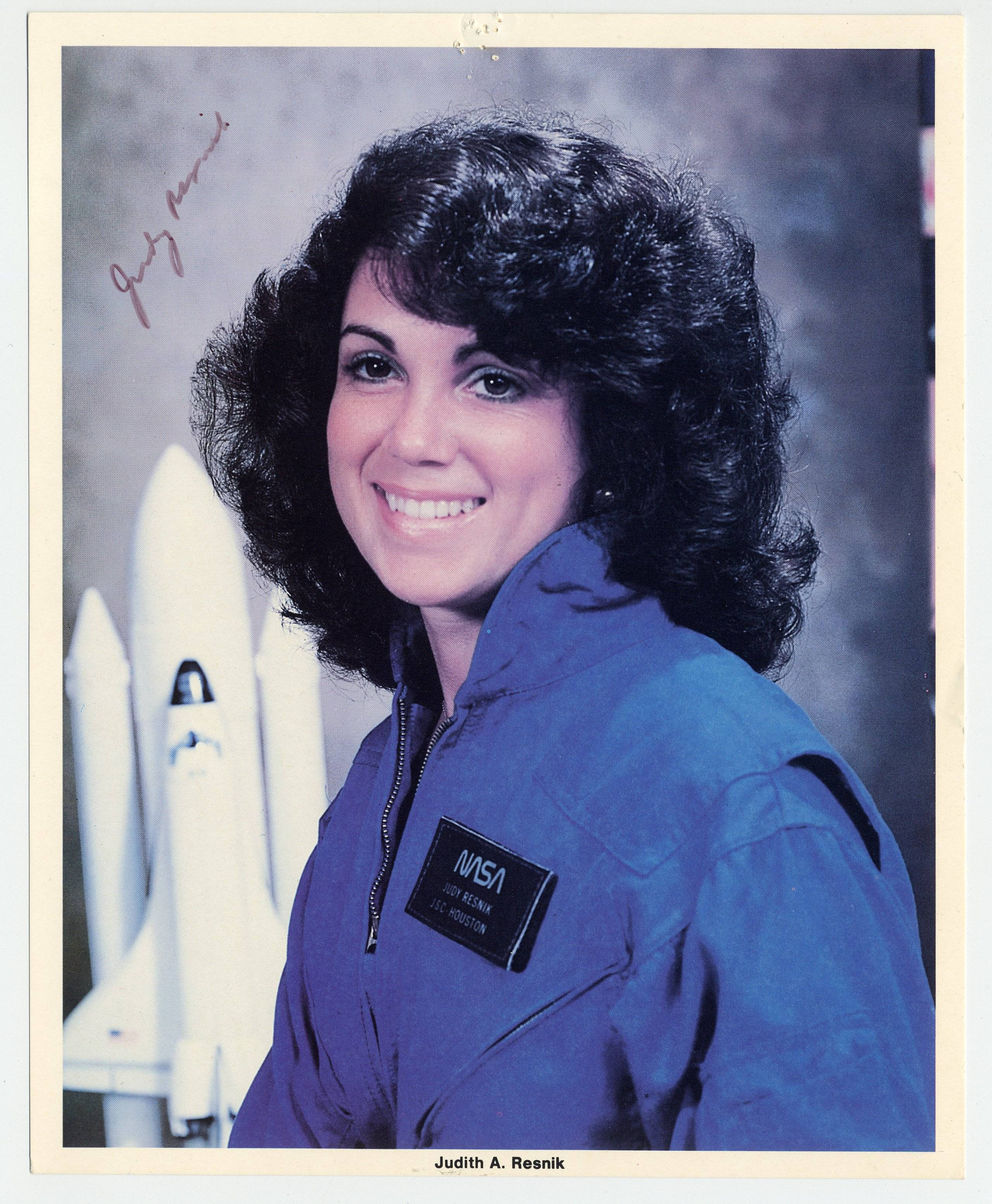 Signed Photo of Challenger Astronaut Judy Resnik-Second American Woman, and First American Jew, in Space