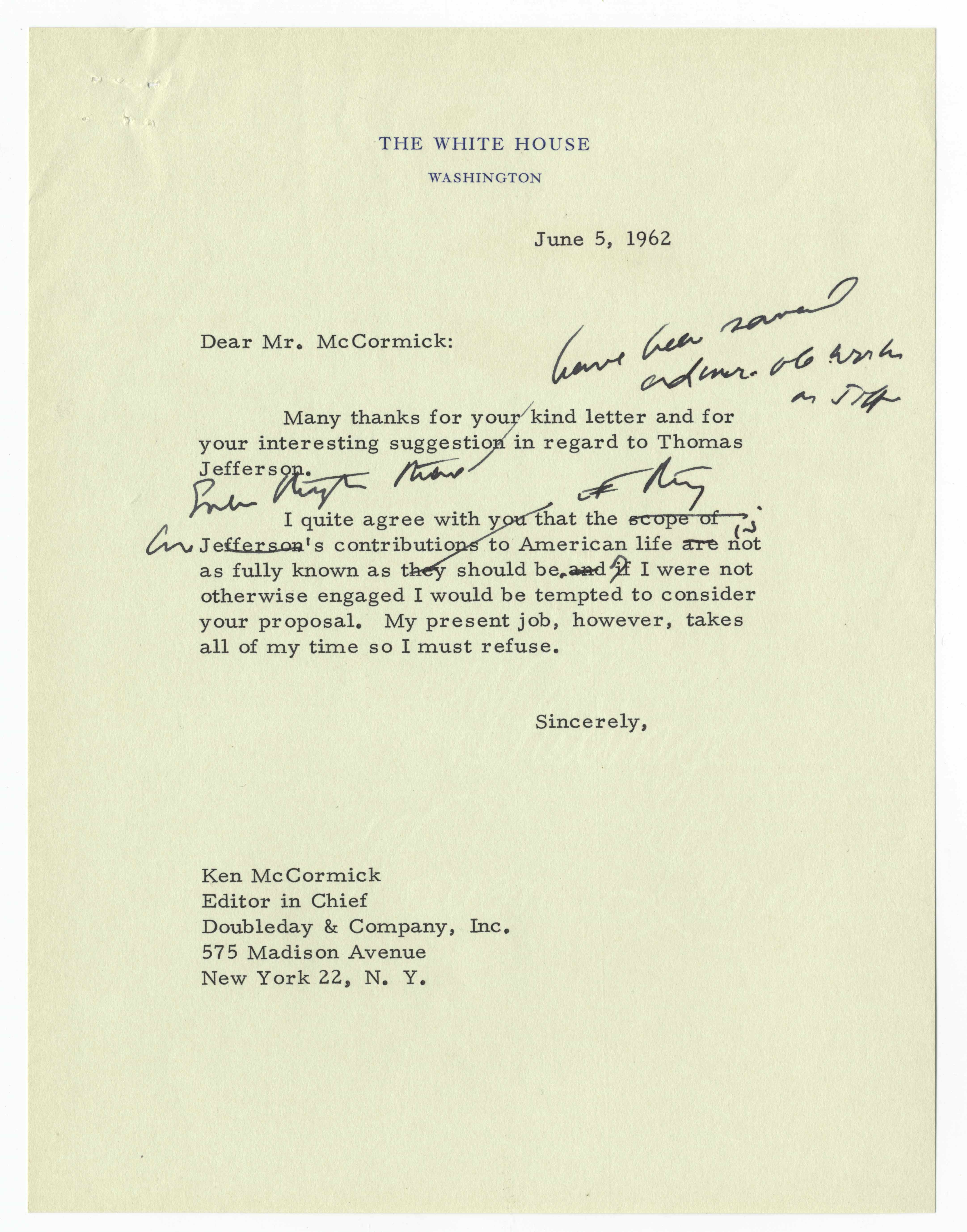 President John F. Kennedy Polishes a Letter Declining to Write a Book on Thomas Jefferson