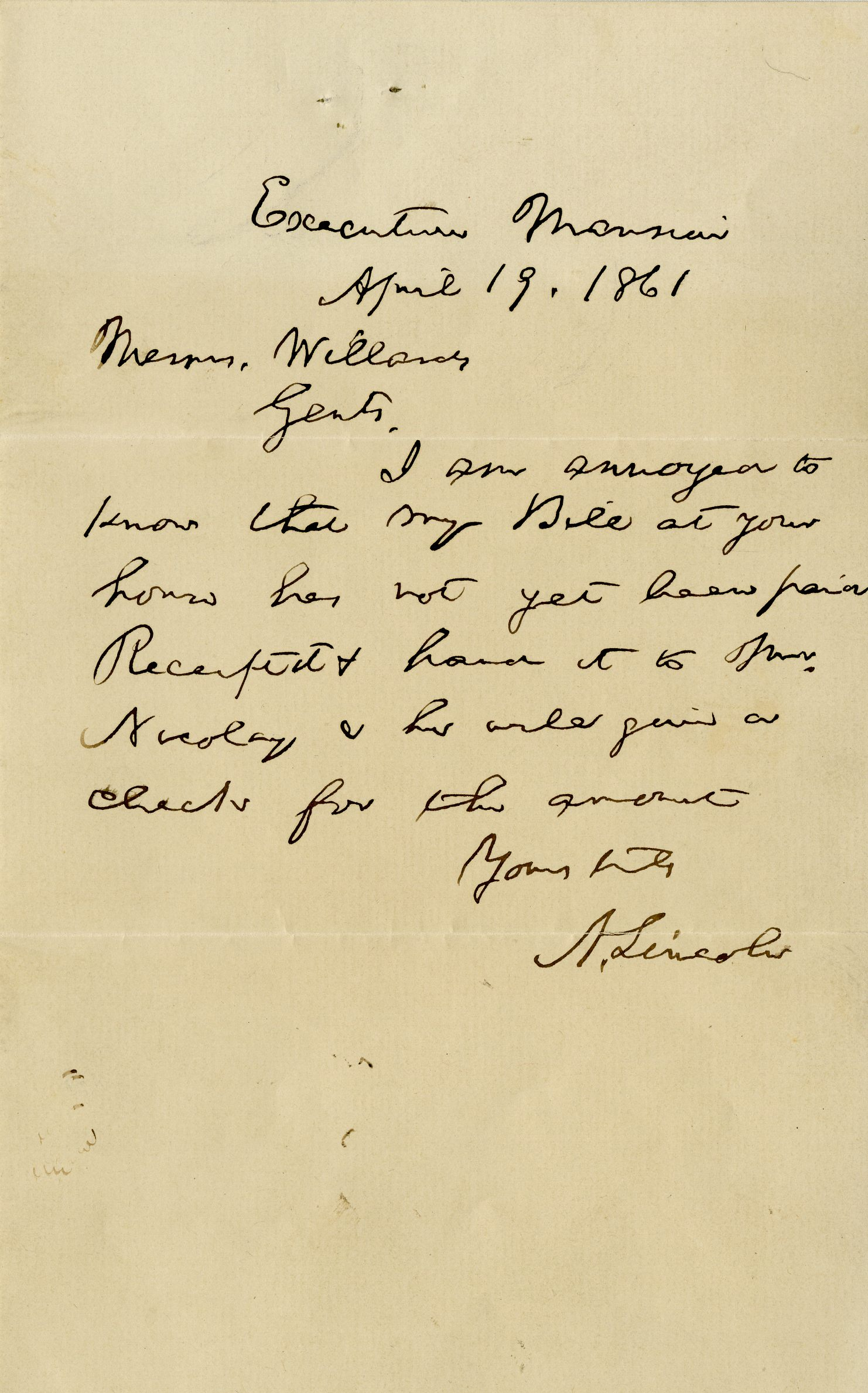 """Honest Abe"" Lincoln, Annoyed About an Unpaid Bill, Orders It Paid – On the Day He Effectively Declares War"