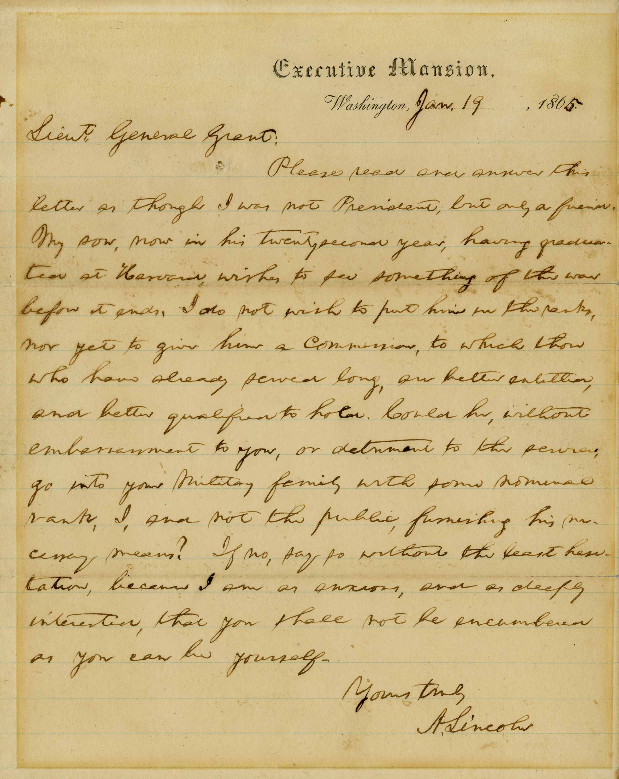 Lincoln Asks General Grant as a Friend, for a Favor: Find a Place for His Son, Robert, on His Staff