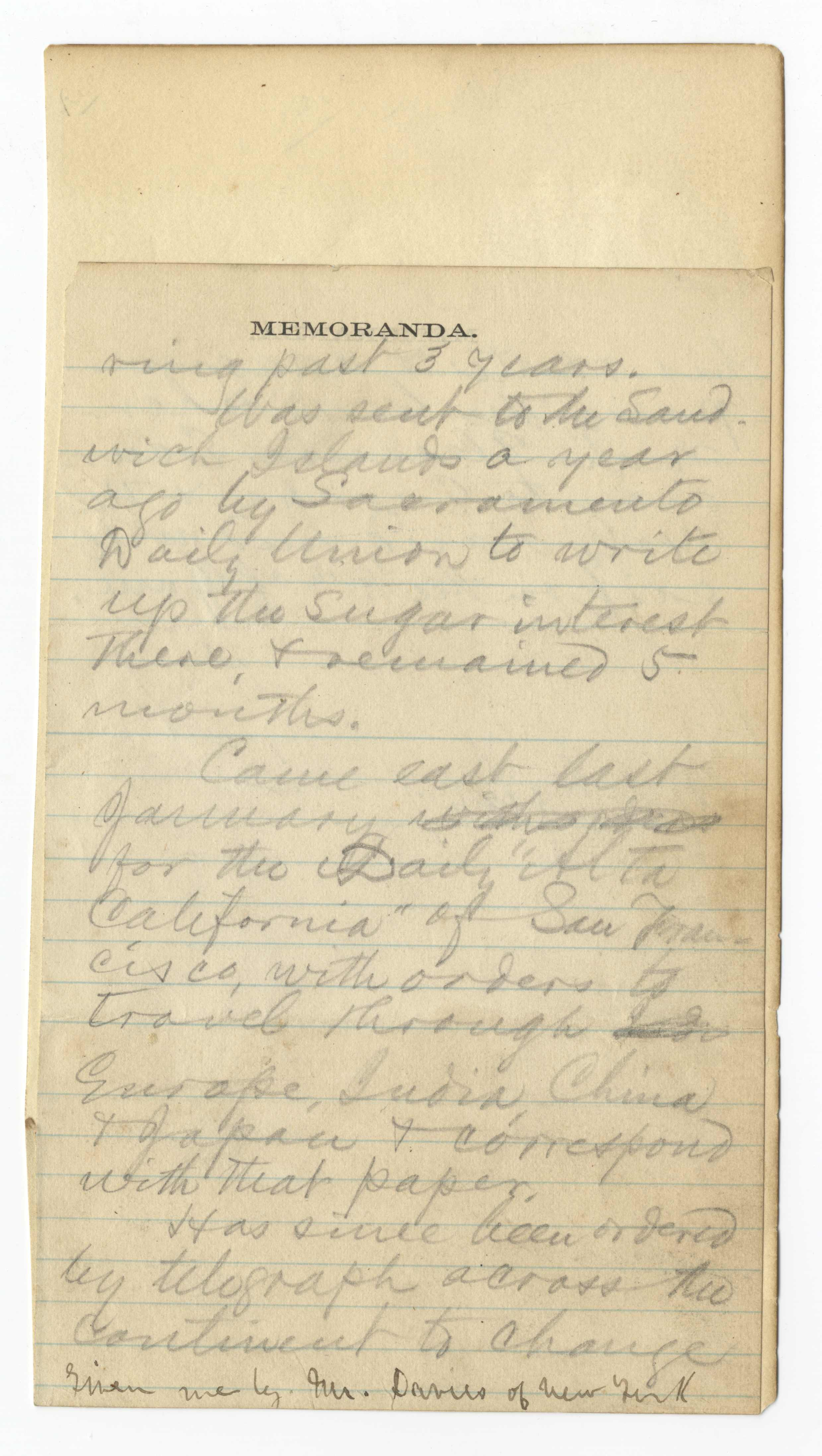 Manuscript from Mark Twain's Missing 1867 Notebook, Announcing His Intention to Travel Abroad
