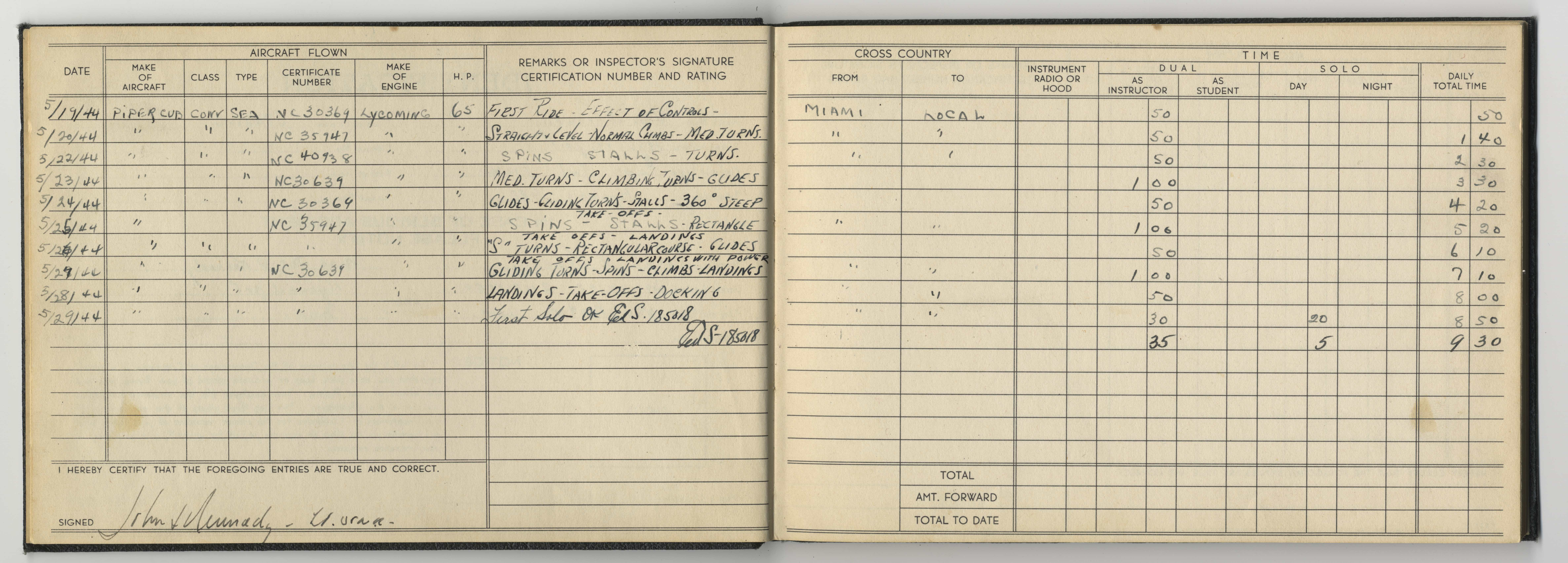 Rare, Seemingly Singular Evidence, That John F. Kennedy Knew How to Fly: His 1944 Flight Logbook